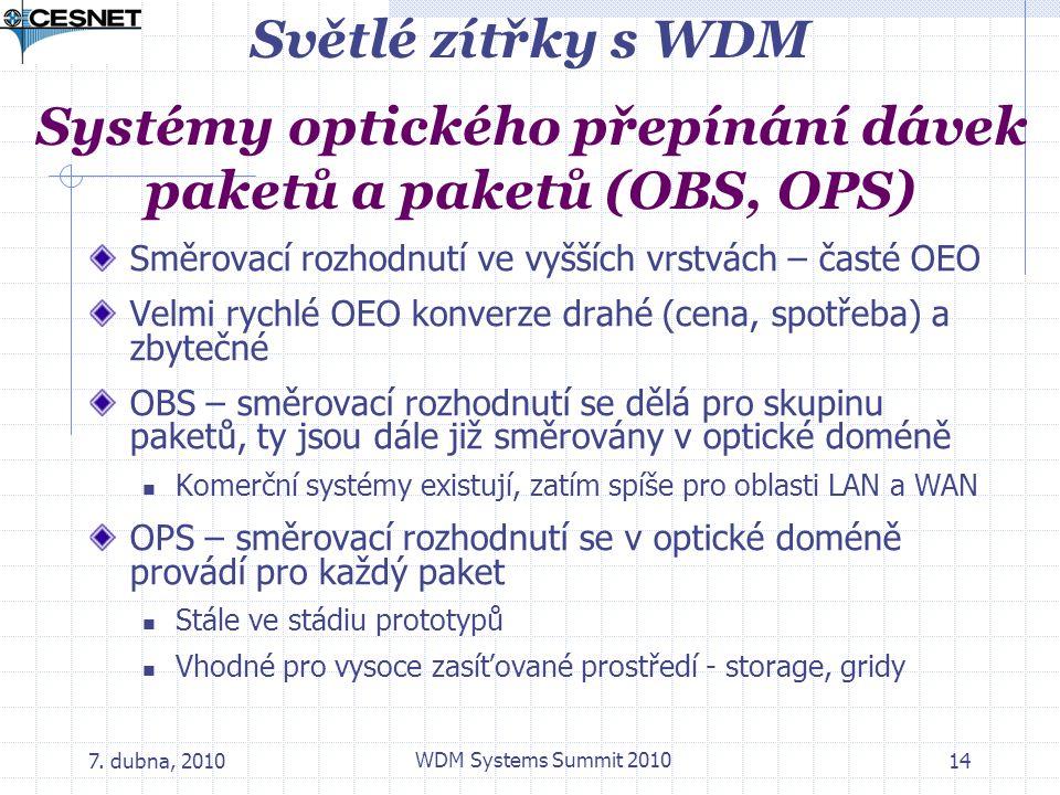 7. dubna, 2010 WDM Systems Summit 2010 14 Světlé zítřky s WDM Systémy optického přepínání dávek paketů a paketů (OBS, OPS) Směrovací rozhodnutí ve vyš