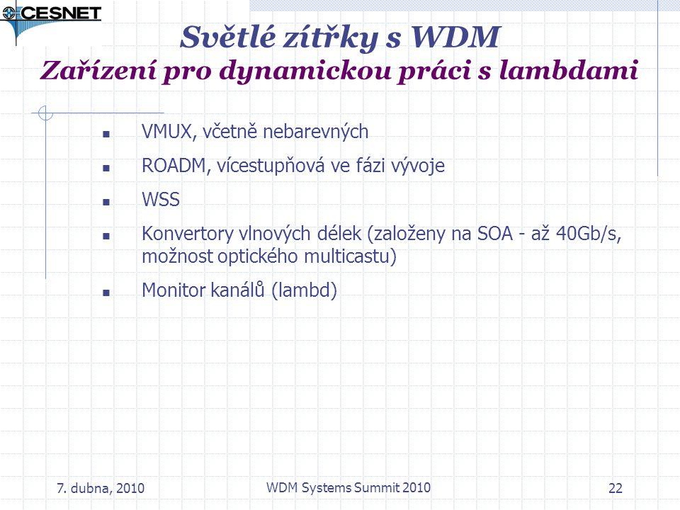 7. dubna, 2010 WDM Systems Summit 2010 22 Světlé zítřky s WDM Zařízení pro dynamickou práci s lambdami VMUX, včetně nebarevných ROADM, vícestupňová ve
