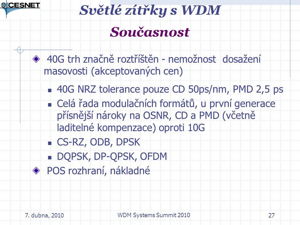 7. dubna, 2010 WDM Systems Summit 2010 27 Světlé zítřky s WDM Současnost 40G trh značně roztříštěn - nemožnost dosažení masovosti (akceptovaných cen)