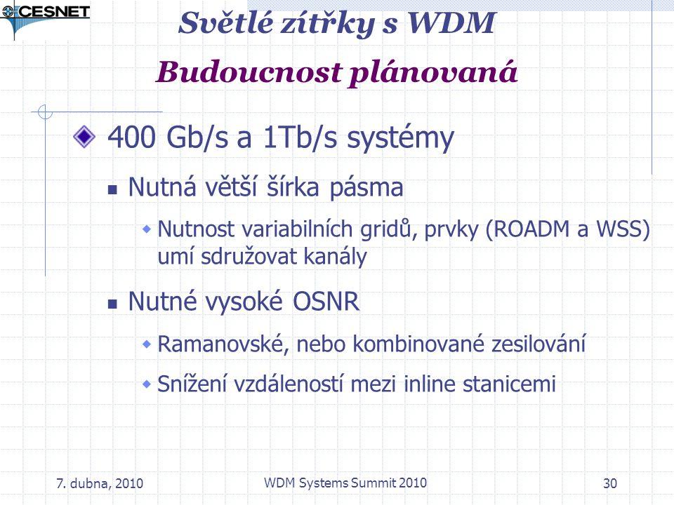7. dubna, 2010 WDM Systems Summit 2010 30 Světlé zítřky s WDM Budoucnost plánovaná 400 Gb/s a 1Tb/s systémy Nutná větší šírka pásma  Nutnost variabil