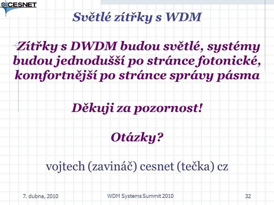 7. dubna, 2010 WDM Systems Summit 2010 32 Světlé zítřky s WDM Zítřky s DWDM budou světlé, systémy budou jednodušší po stránce fotonické, komfortnější