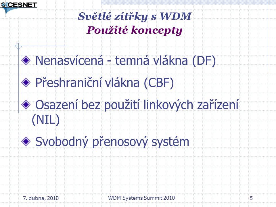 7. dubna, 2010 WDM Systems Summit 2010 5 Nenasvícená - temná vlákna (DF) Přeshraniční vlákna (CBF) Osazení bez použití linkových zařízení (NIL) Svobod