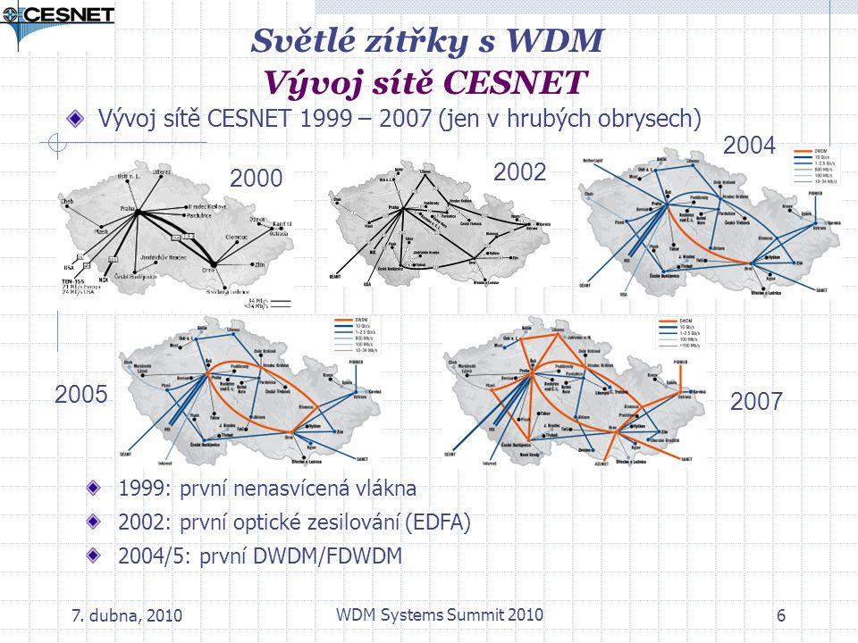 7. dubna, 2010 WDM Systems Summit 2010 6 Vývoj sítě CESNET 1999 – 2007 (jen v hrubých obrysech) Světlé zítřky s WDM Vývoj sítě CESNET 2000 2002 2004 2