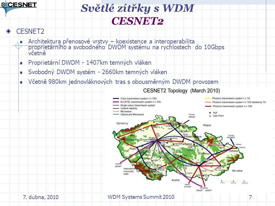 7. dubna, 2010 WDM Systems Summit 2010 7 Světlé zítřky s WDM CESNET2 CESNET2 Architektura přenosové vrstvy – koexistence a interoperabilita proprietár
