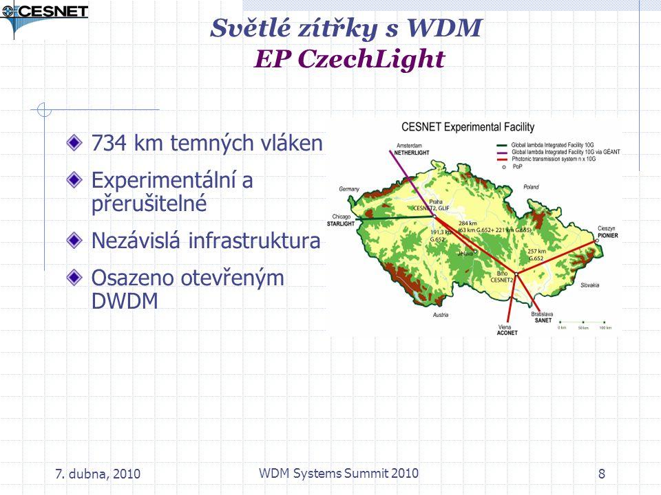 7. dubna, 2010 WDM Systems Summit 2010 8 Světlé zítřky s WDM EP CzechLight 734 km temných vláken Experimentální a přerušitelné Nezávislá infrastruktur