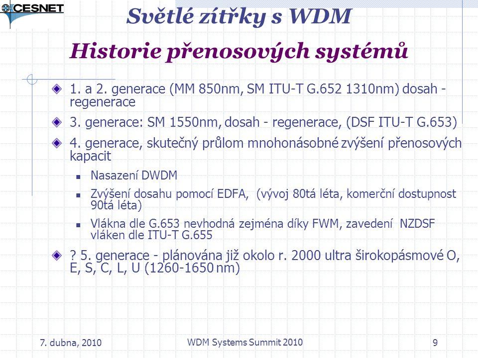 7. dubna, 2010 WDM Systems Summit 2010 9 Světlé zítřky s WDM Historie přenosových systémů 1. a 2. generace (MM 850nm, SM ITU-T G.652 1310nm) dosah - r