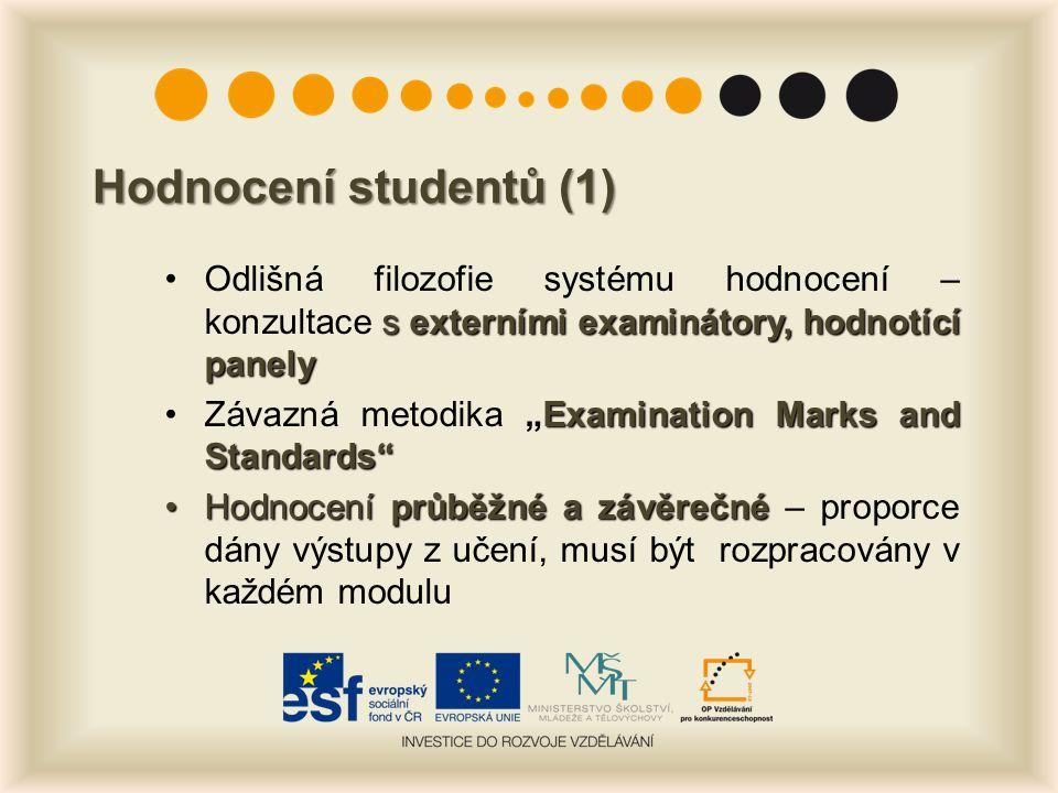 """Hodnocení studentů (1) s externími examinátory, hodnotící panelyOdlišná filozofie systému hodnocení – konzultace s externími examinátory, hodnotící panely Examination Marks and Standards Závazná metodika """"Examination Marks and Standards Hodnocení průběžné a závěrečnéHodnocení průběžné a závěrečné – proporce dány výstupy z učení, musí být rozpracovány v každém modulu"""