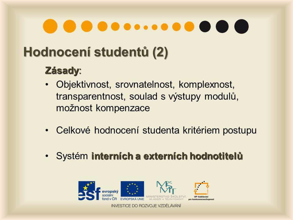 Hodnocení studentů (2) Zásady: Objektivnost, srovnatelnost, komplexnost, transparentnost, soulad s výstupy modulů, možnost kompenzace Celkové hodnocení studenta kritériem postupu interních a externích hodnotitelůSystém interních a externích hodnotitelů