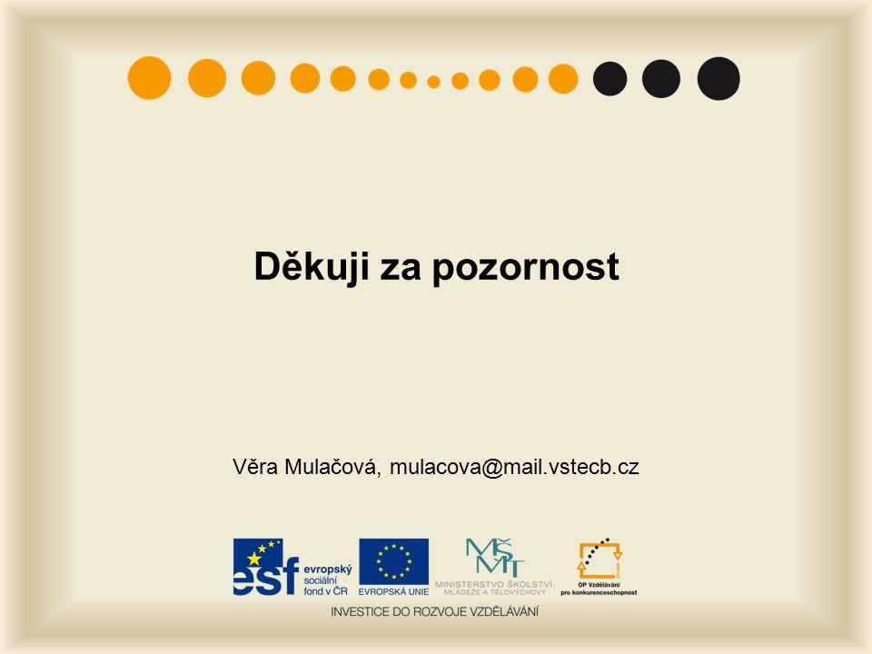 Děkuji za pozornost Věra Mulačová, mulacova@mail.vstecb.cz