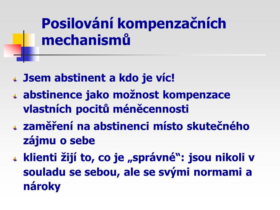 Posilování kompenzačních mechanismů Jsem abstinent a kdo je víc! abstinence jako možnost kompenzace vlastních pocitů méněcennosti zaměření na abstinen
