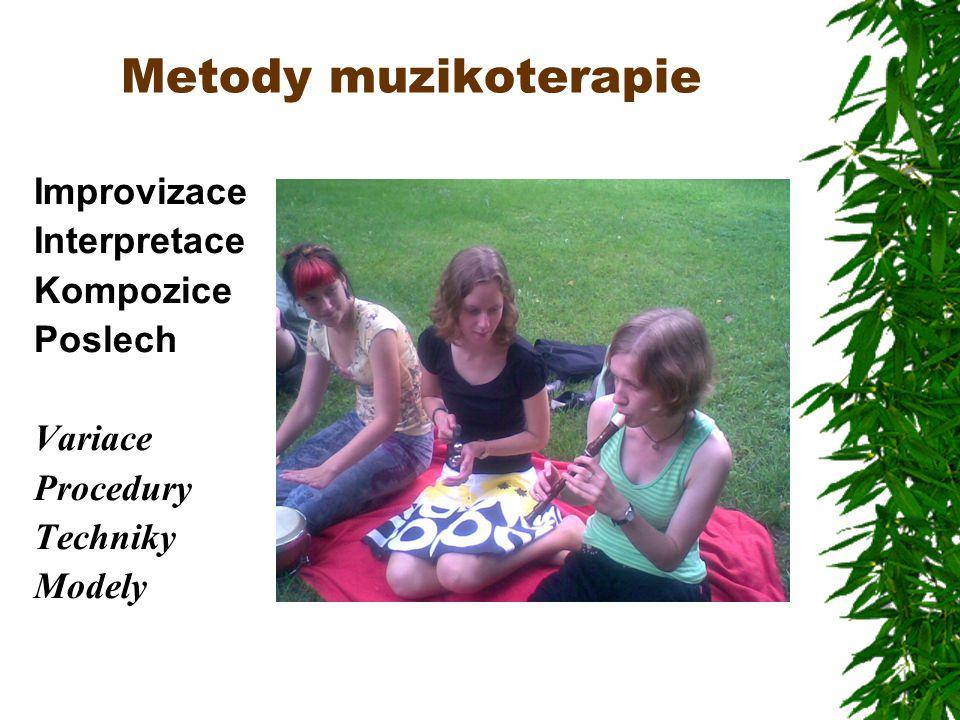 Metody muzikoterapie Improvizace Interpretace Kompozice Poslech Variace Procedury Techniky Modely