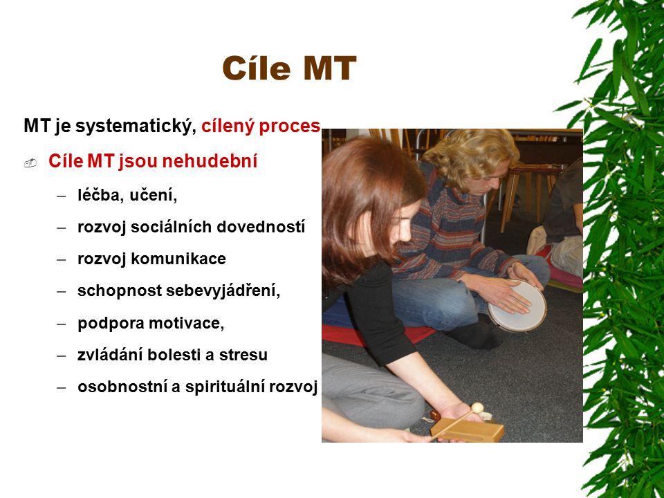 Cíle MT MT je systematický, cílený proces  Cíle MT jsou nehudební –léčba, učení, –rozvoj sociálních dovedností –rozvoj komunikace –schopnost sebevyjádření, –podpora motivace, –zvládání bolesti a stresu –osobnostní a spirituální rozvoj