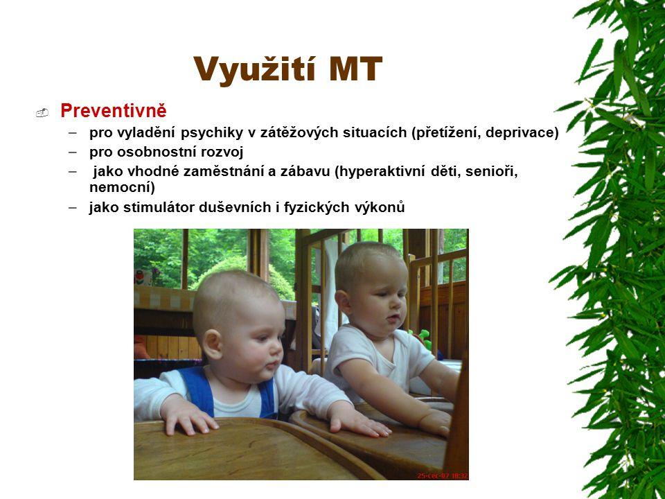 Využití MT  Preventivně –pro vyladění psychiky v zátěžových situacích (přetížení, deprivace) –pro osobnostní rozvoj – jako vhodné zaměstnání a zábavu (hyperaktivní děti, senioři, nemocní) –jako stimulátor duševních i fyzických výkonů