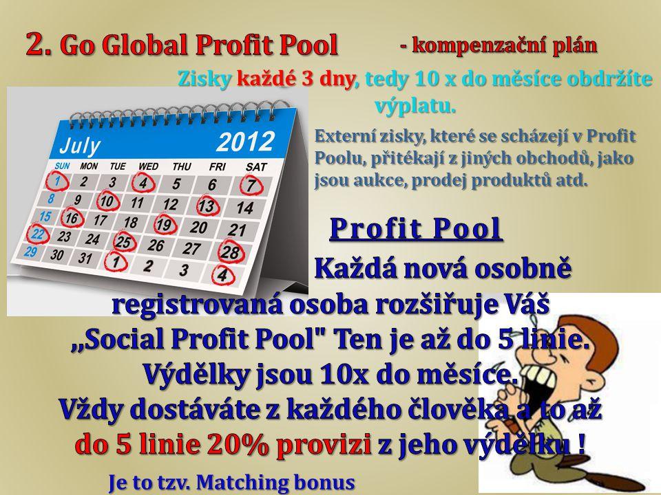 Externí zisky, které se scházejí v Profit Poolu, přitékají z jiných obchodů, jako jsou aukce, prodej produktů atd. Zisky každé 3 dny, tedy 10 x do měs