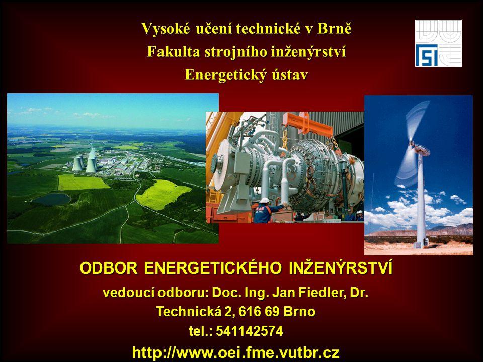 Vysoké učení technické v Brně Fakulta strojního inženýrství Energetický ústav ODBOR ENERGETICKÉHO INŽENÝRSTVÍ vedoucí odboru: Doc.