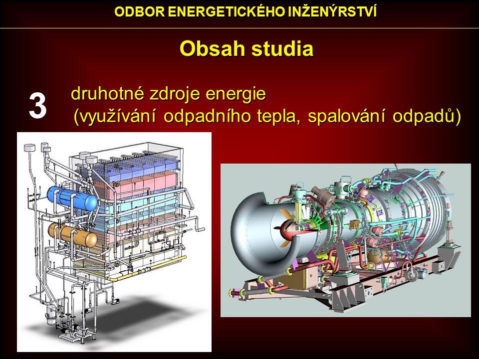 Obsah studia druhotné zdroje energie druhotné zdroje energie (využívání odpadního tepla, spalování odpadů) ODBOR ENERGETICKÉHO INŽENÝRSTVÍ 3