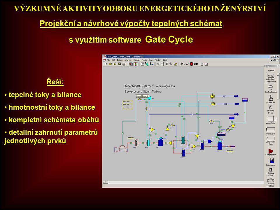 VÝZKUMNÉ AKTIVITY ODBORU ENERGETICKÉHO INŽENÝRSTVÍ Projekční a návrhové výpočty tepelných schémat s využitím software Gate Cycle Teplotní pole Řeší: tepelné toky a bilance tepelné toky a bilance hmotnostní toky a bilance hmotnostní toky a bilance kompletní schémata oběhů kompletní schémata oběhů detailní zahrnutí parametrů jednotlivých prvků detailní zahrnutí parametrů jednotlivých prvků