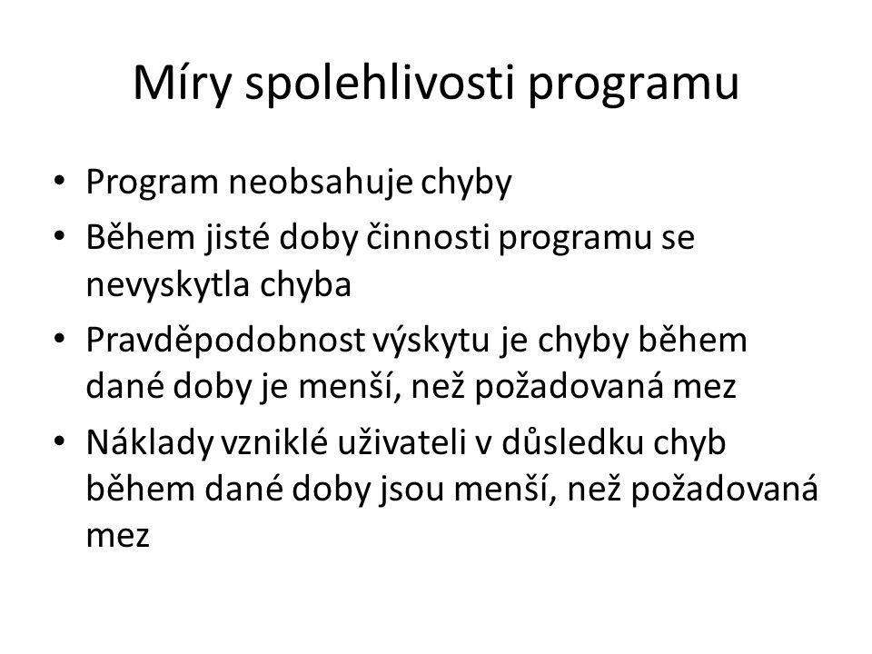 Míry spolehlivosti programu Program neobsahuje chyby Během jisté doby činnosti programu se nevyskytla chyba Pravděpodobnost výskytu je chyby během dan
