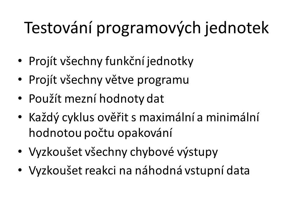 Testování programových jednotek Projít všechny funkční jednotky Projít všechny větve programu Použít mezní hodnoty dat Každý cyklus ověřit s maximální
