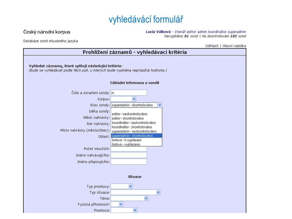 vyhledávácí formulář