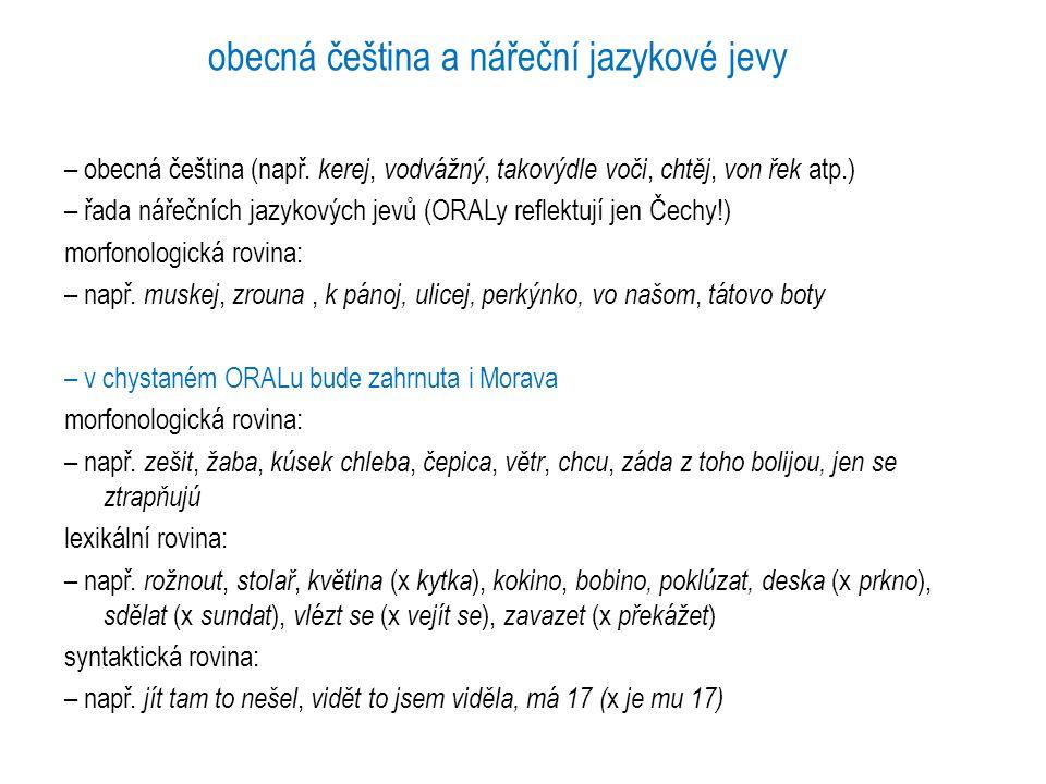 obecná čeština a nářeční jazykové jevy – obecná čeština (např. kerej, vodvážný, takovýdle voči, chtěj, von řek atp.) – řada nářečních jazykových jevů