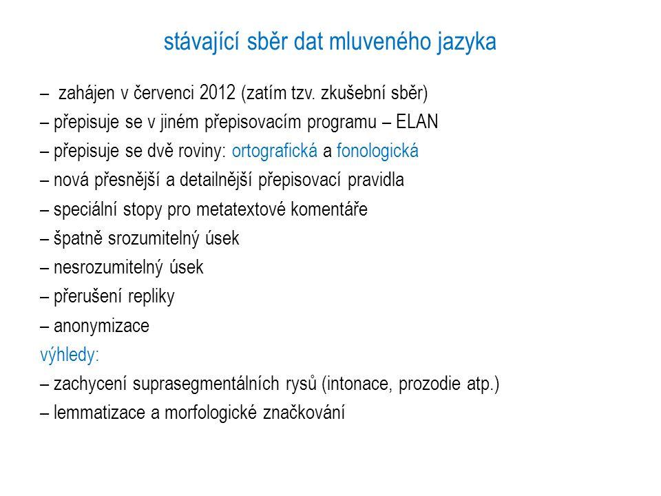 stávající sběr dat mluveného jazyka – zahájen v červenci 2012 (zatím tzv. zkušební sběr) – přepisuje se v jiném přepisovacím programu – ELAN – přepisu