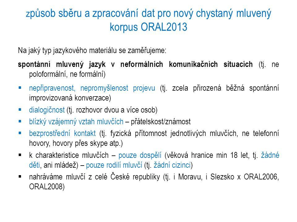 z působ sběru a zpracování dat pro nový chystaný mluvený korpus ORAL2013 Na jaký typ jazykového materiálu se zaměřujeme: spontánní mluvený jazyk v nef