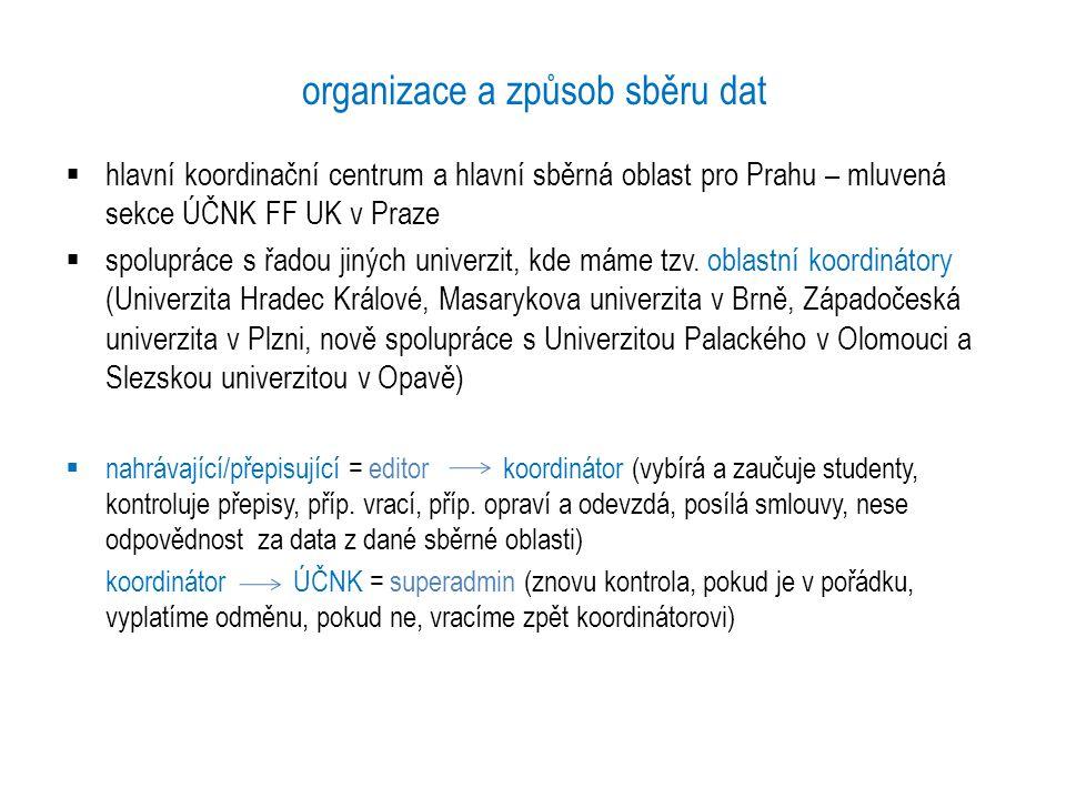 organizace a způsob sběru dat  hlavní koordinační centrum a hlavní sběrná oblast pro Prahu – mluvená sekce ÚČNK FF UK v Praze  spolupráce s řadou ji