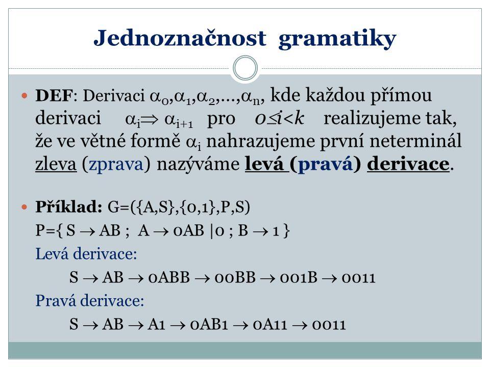 Jednoznačnost gramatiky DEF: Derivaci  0,  1,  2,…,  n, kde každou přímou derivaci  i   i+1 pro 0  i<k realizujeme tak, že ve větné formě  i