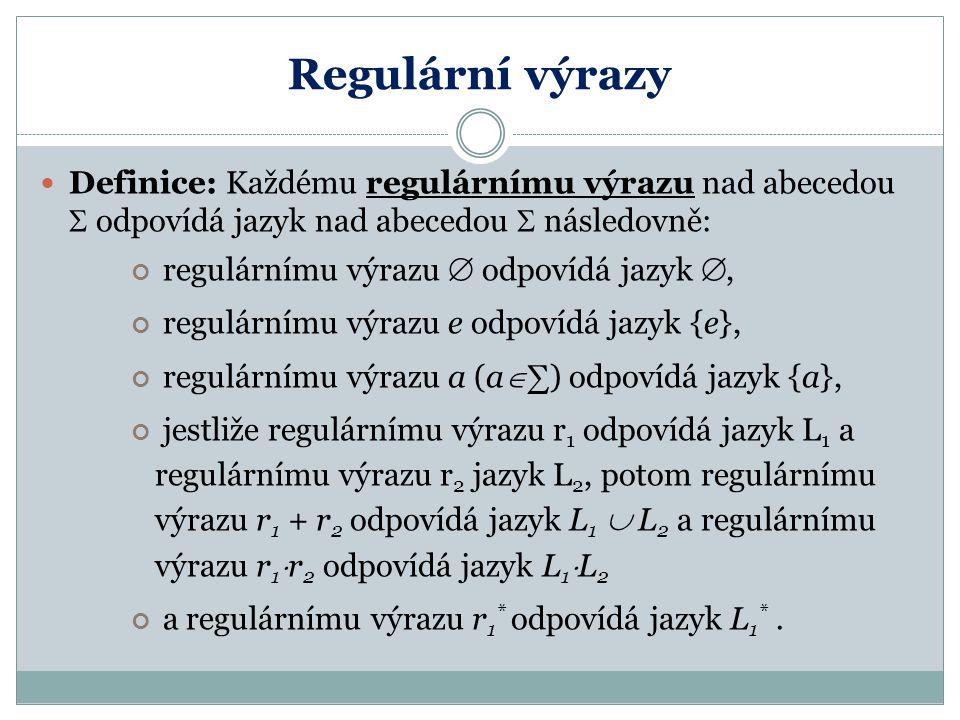 Regulární výrazy Definice: Každému regulárnímu výrazu nad abecedou  odpovídá jazyk nad abecedou  následovně: regulárnímu výrazu  odpovídá jazyk ,