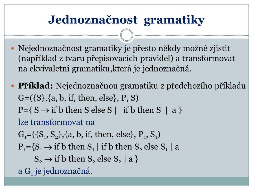 Jednoznačnost gramatiky Nejednoznačnost gramatiky je přesto někdy možné zjistit (například z tvaru přepisovacích pravidel) a transformovat na ekvivale