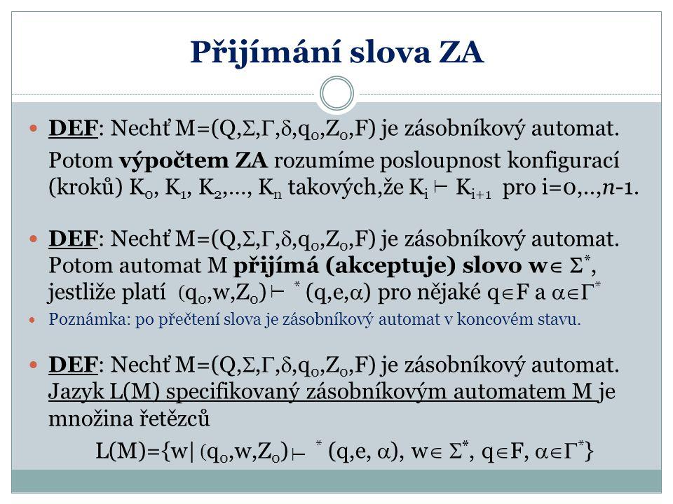 Přijímání slova ZA DEF: Nechť M=(Q, , , ,q 0,Z 0,F) je zásobníkový automat. Potom výpočtem ZA rozumíme posloupnost konfigurací (kroků) K 0, K 1, K