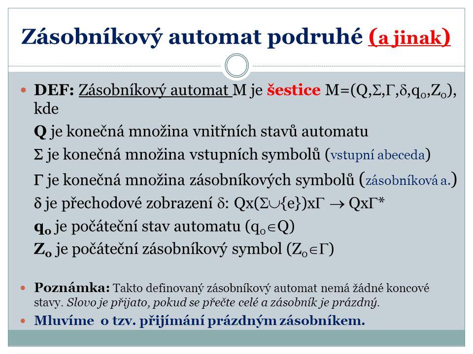 Zásobníkový automat podruhé ( a jinak ) DEF: Zásobníkový automat M je šestice M=(Q, , , ,q 0,Z 0 ), kde Q je konečná množina vnitřních stavů automa