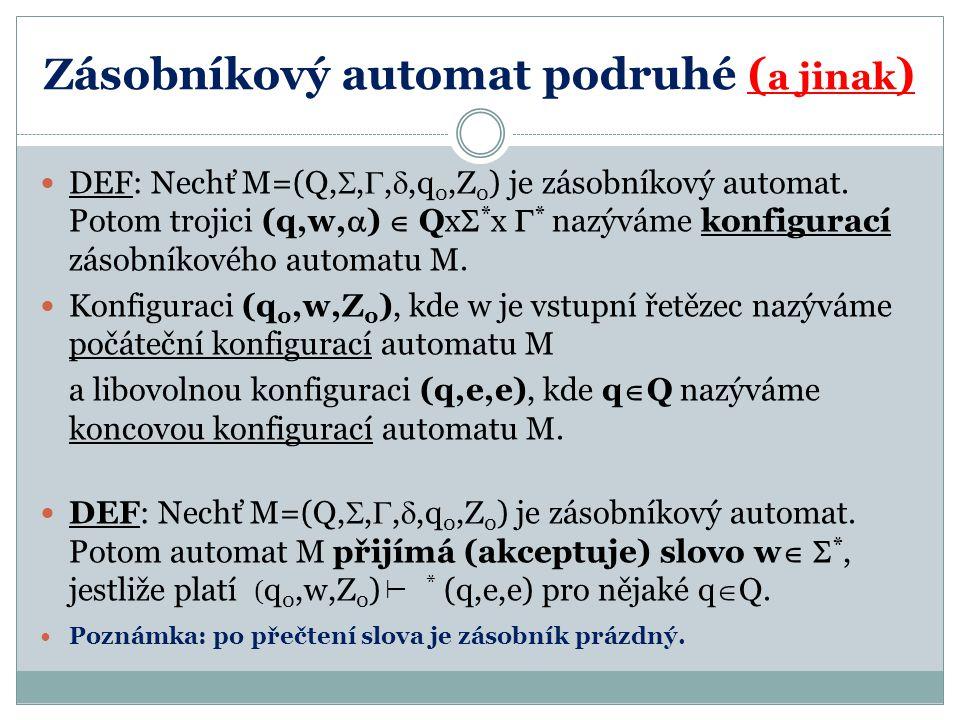 Zásobníkový automat podruhé ( a jinak ) DEF: Nechť M=(Q, , , ,q 0,Z 0 ) je zásobníkový automat. Potom trojici (q,w,  )  Qx  * x  * nazýváme kon