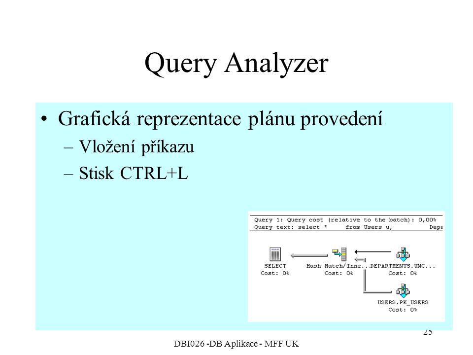 DBI026 -DB Aplikace - MFF UK 25 Query Analyzer Grafická reprezentace plánu provedení –Vložení příkazu –Stisk CTRL+L