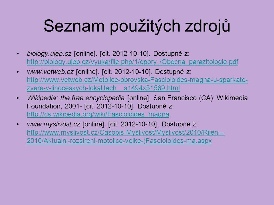 Seznam použitých zdrojů biology.ujep.cz [online].[cit.
