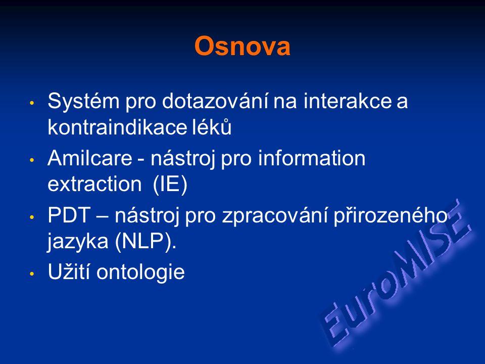 Osnova Systém pro dotazování na interakce a kontraindikace léků Amilcare - nástroj pro information extraction (IE) PDT – nástroj pro zpracování přirozeného jazyka (NLP).
