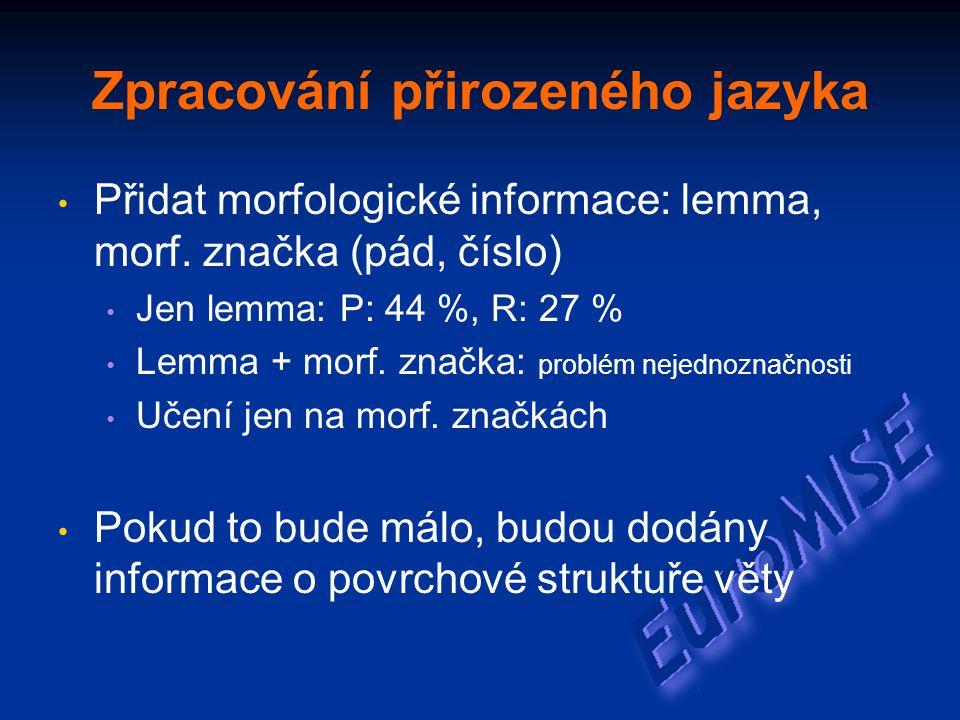 Zpracování přirozeného jazyka Přidat morfologické informace: lemma, morf.