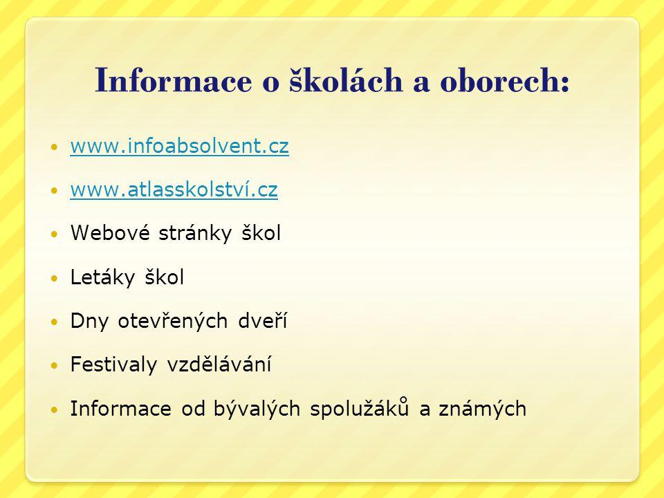 Informace o školách a oborech: www.infoabsolvent.cz www.atlasskolství.cz Webové stránky škol Letáky škol Dny otevřených dveří Festivaly vzdělávání Inf