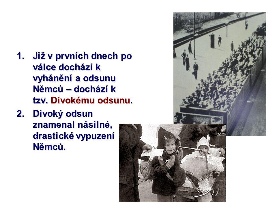 1.Již v prvních dnech po válce dochází k vyhánění a odsunu Němců – dochází k tzv. Divokému odsunu. 2.Divoký odsun znamenal násilné, drastické vypuzení