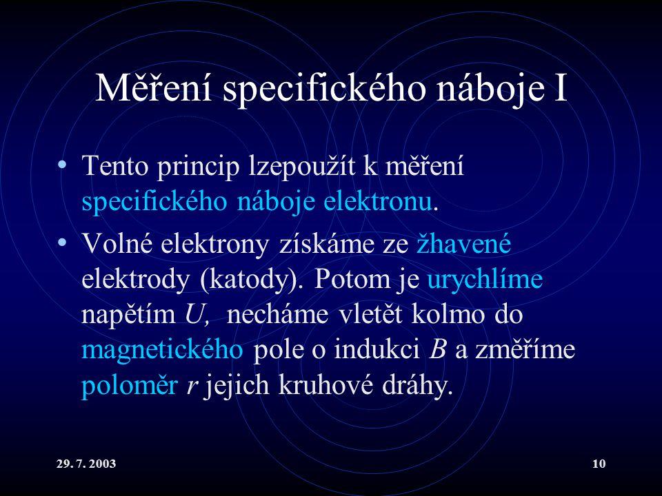 29. 7. 200310 Měření specifického náboje I Tento princip lzepoužít k měření specifického náboje elektronu. Volné elektrony získáme ze žhavené elektrod