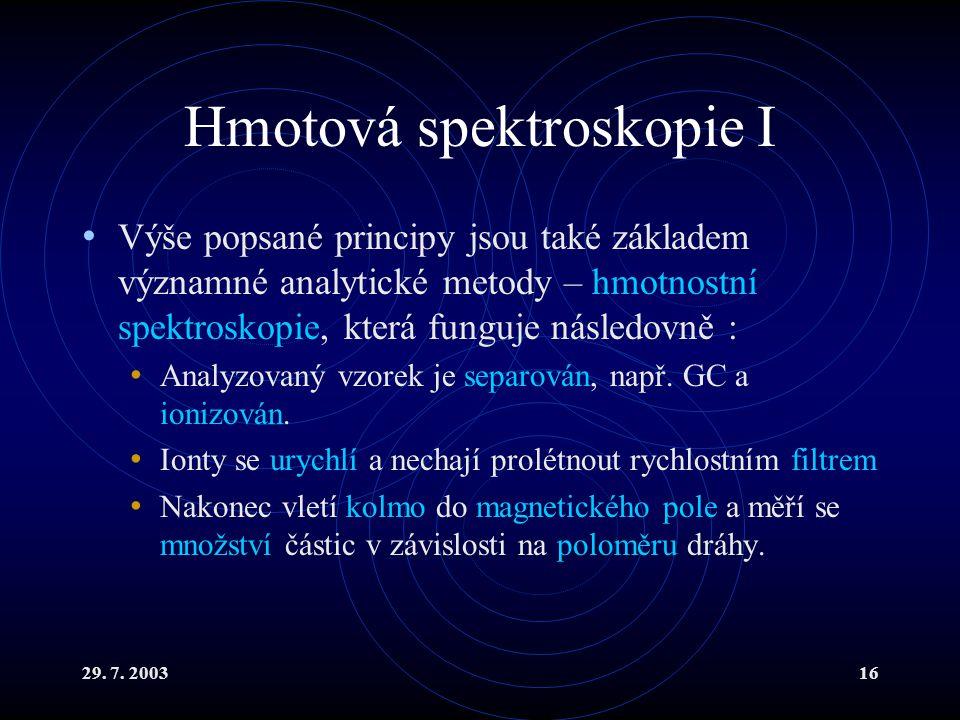 29. 7. 200316 Hmotová spektroskopie I Výše popsané principy jsou také základem významné analytické metody – hmotnostní spektroskopie, která funguje ná