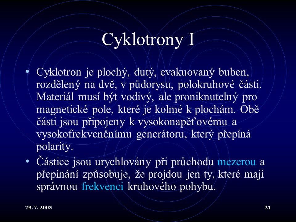 29. 7. 200321 Cyklotrony I Cyklotron je plochý, dutý, evakuovaný buben, rozdělený na dvě, v půdorysu, polokruhové části. Materiál musí být vodivý, ale