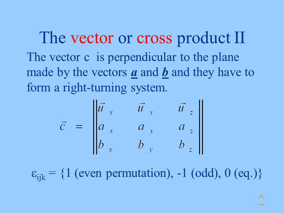 The vector or cross product II The vector c is perpendicular to the plane made by the vectors a and b and they have to form a right-turning system.