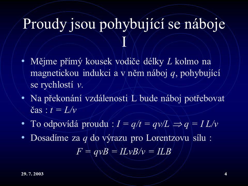29. 7. 20034 Proudy jsou pohybující se náboje I Mějme přímý kousek vodiče délky L kolmo na magnetickou indukci a v něm náboj q, pohybující se rychlost