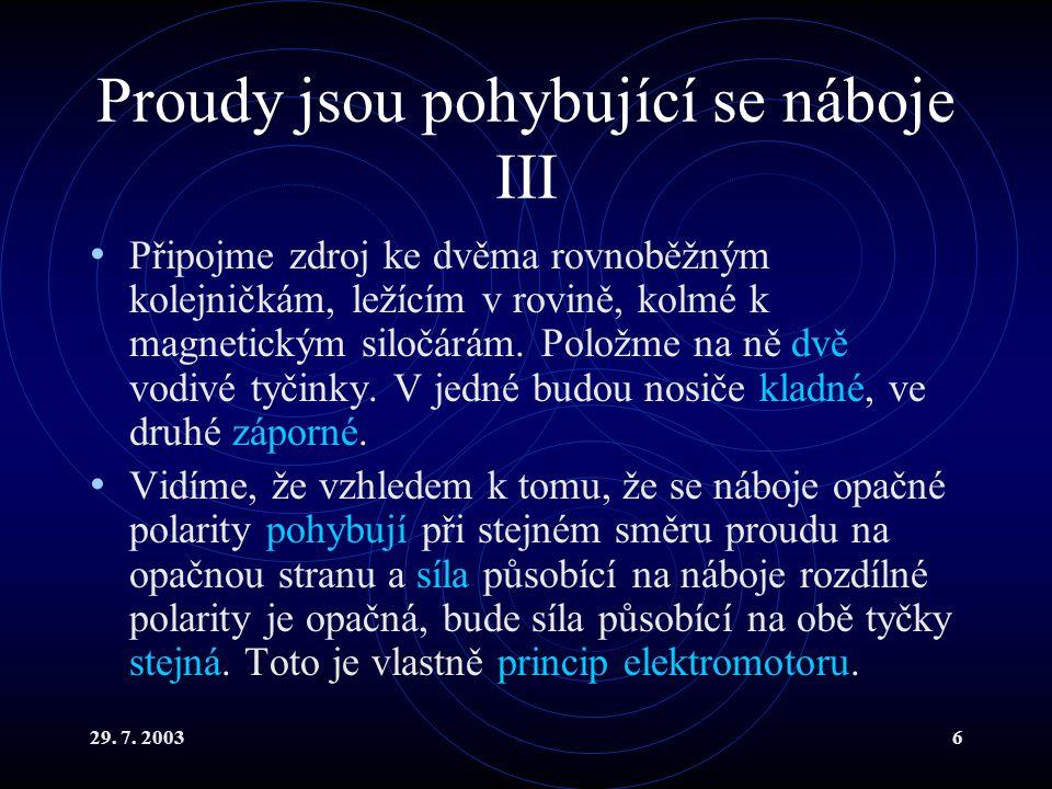 29. 7. 20036 Proudy jsou pohybující se náboje III Připojme zdroj ke dvěma rovnoběžným kolejničkám, ležícím v rovině, kolmé k magnetickým siločárám. Po