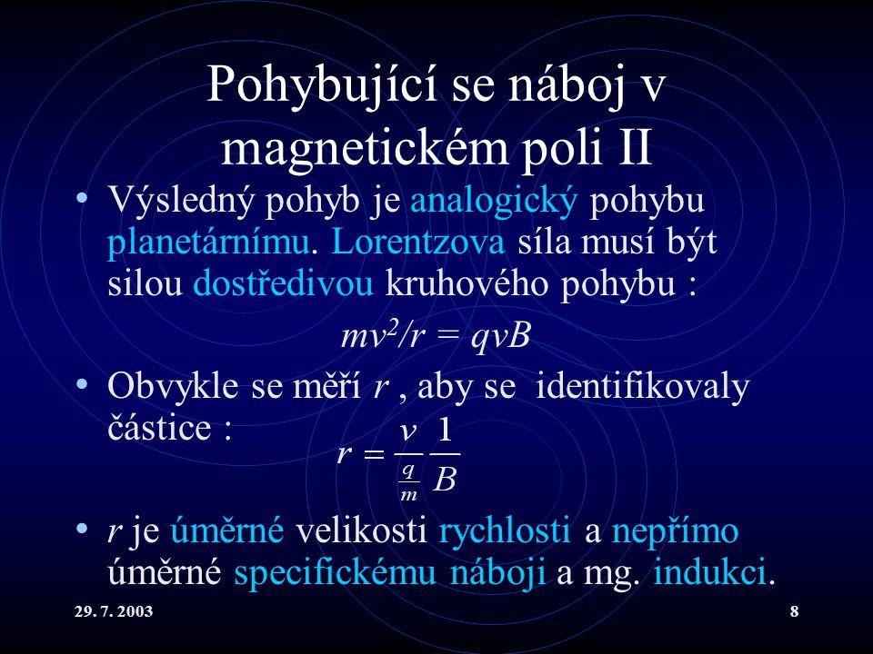 29. 7. 20038 Pohybující se náboj v magnetickém poli II Výsledný pohyb je analogický pohybu planetárnímu. Lorentzova síla musí být silou dostředivou kr