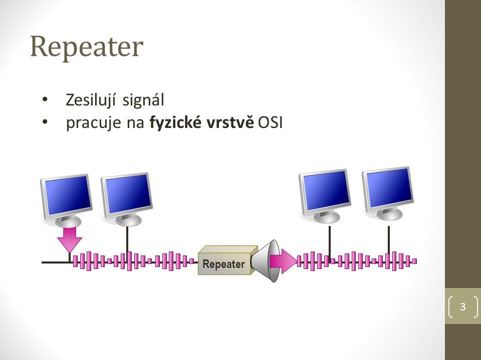 3 Repeater Zesilují signál pracuje na fyzické vrstvě OSI Repeater