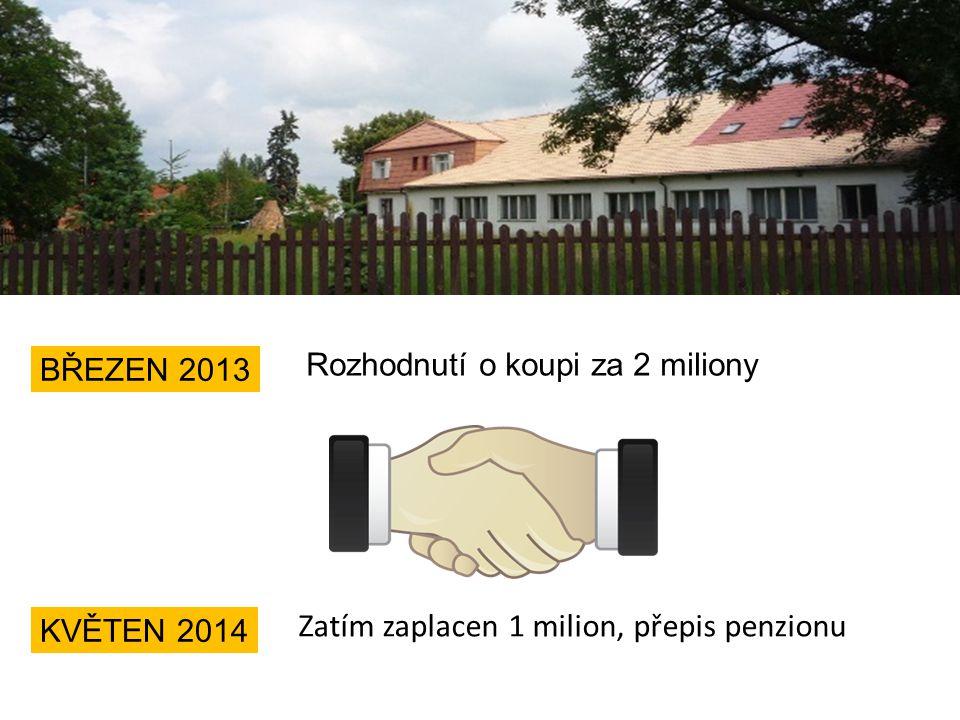 Rozhodnutí o koupi za 2 miliony BŘEZEN 2013 KVĚTEN 2014 Zatím zaplacen 1 milion, přepis penzionu