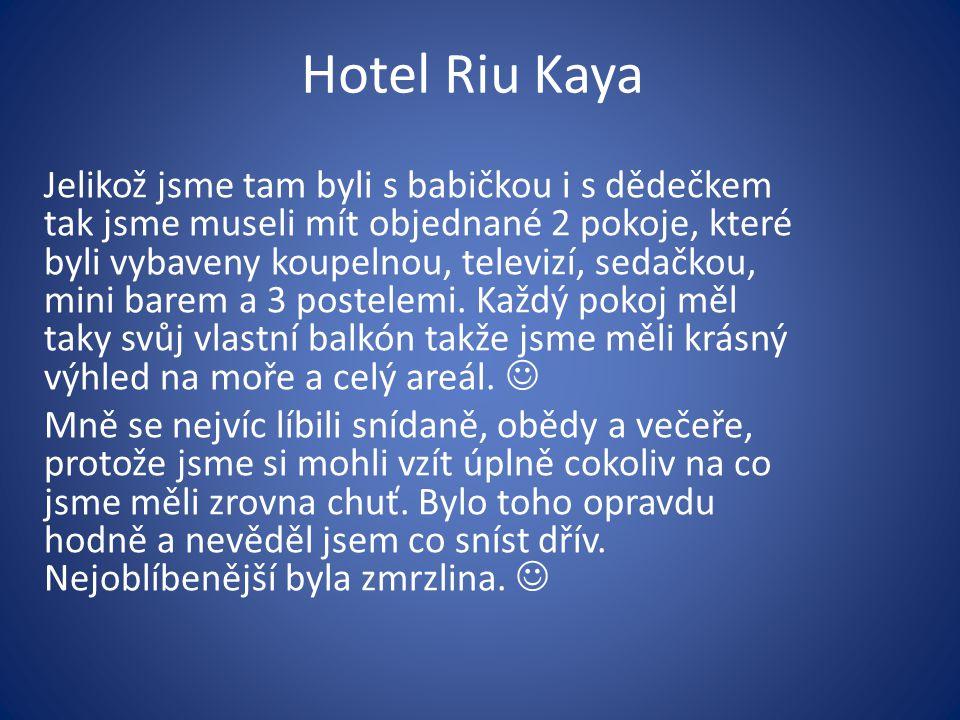 Hotel Riu Kaya Jelikož jsme tam byli s babičkou i s dědečkem tak jsme museli mít objednané 2 pokoje, které byli vybaveny koupelnou, televizí, sedačkou, mini barem a 3 postelemi.